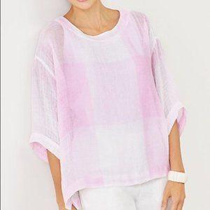 J.Jill Plaid Airy Weave Kimono Pink Linen Blouse M
